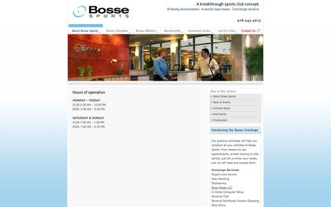 Screenshot of Hours Page bossesports.com - Bosse Sports and Health Club - captured Oct. 5, 2014