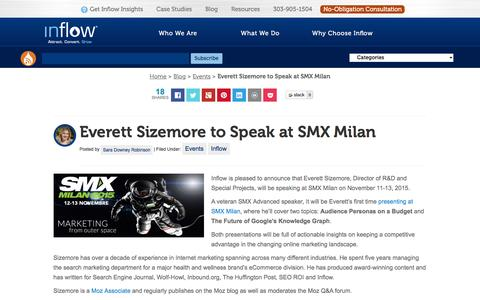 Screenshot of goinflow.com - Everett Sizemore to Speak at SMX Milan - captured March 20, 2016
