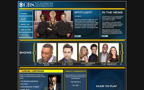 Screenshot of Home Page cbstvd.com - CBS Television Distribution - captured July 17, 2014