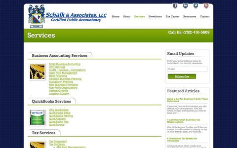 Screenshot of Services Page schalkllc.com - Business Accounting and Tax Services in Las Vegas | Schalk & Associates LLC - captured Oct. 4, 2014