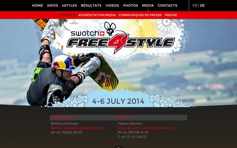 Screenshot of Press Page free4style.com - Contact | Free4Style | FMX, Jetski, Wakeboard, Music | Estavayer-le-Lac Suisse - captured Oct. 1, 2014