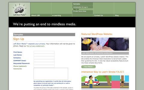 Screenshot of Signup Page leftbrainmedia.com - Left Brain Media™ - Sign Up for Sample Access - captured July 13, 2016