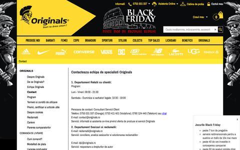 Screenshot of Contact Page originals.ro - Jocurile Black Friday - Originals - Contact - captured Nov. 18, 2016