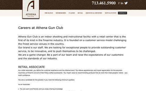 Screenshot of Jobs Page athenagunclub.com - Careers - The Athena Gun Club - Katy Texas | Athena Gun Club - captured Sept. 30, 2014