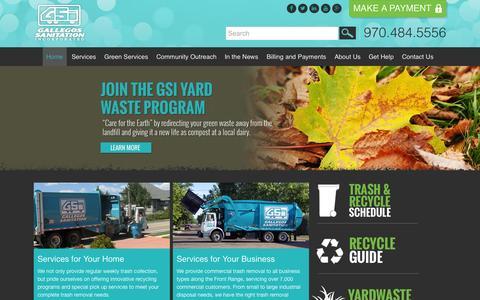 Screenshot of Home Page gsiwaste.com - Welcome - Gallegos Sanitation - captured Sept. 23, 2015