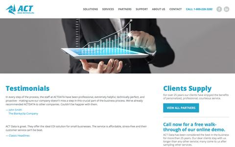 Screenshot of Testimonials Page actdata.com - Testimonials | ACT Data Services - captured Oct. 6, 2017