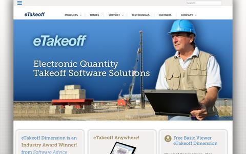 Screenshot of Home Page etakeoff.com - Home - eTakeoff - captured Sept. 16, 2015