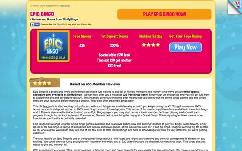 Screenshot of ohmybingo.com - Epic Bingo | £20 free play + 200% free bingo cash - OhMyBingo - captured March 19, 2016