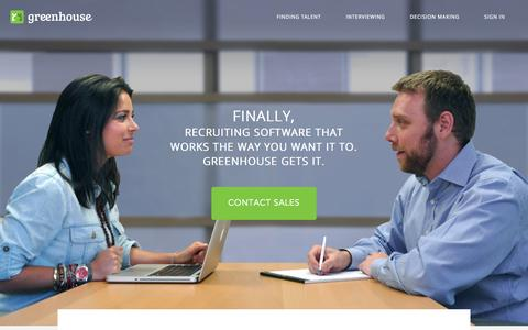 Screenshot of Home Page greenhouse.io - Greenhouse - captured Sept. 16, 2014