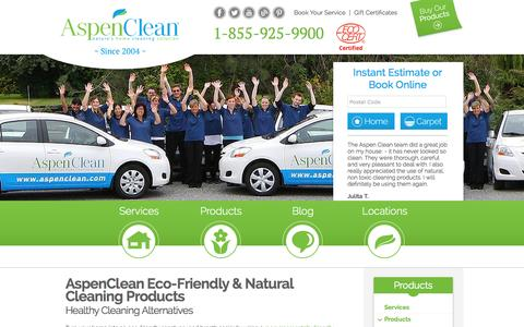 Screenshot of Products Page aspenclean.com - Eco Friendly Products | Natural - captured Sept. 22, 2014
