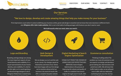 Screenshot of Contact Page Services Page Team Page wng.mn - London Web Development & Design Company   Logo & SEO ServiceWingmen Digital Studio - captured Oct. 26, 2014