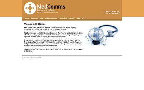 Screenshot of Home Page medcomms.co.uk - Medcomms, Medial Meetings and Events - captured Oct. 6, 2014