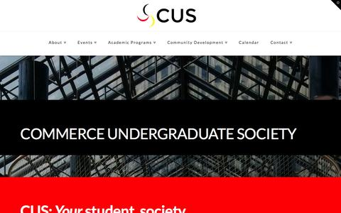 Screenshot of Home Page cuscalgary.ca - Haskayne Commerce Undergraduate Society | The CUS Website! - captured Jan. 22, 2016