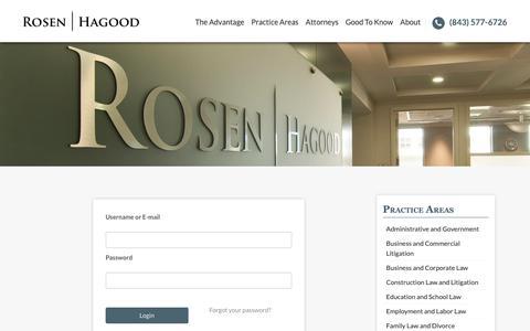 Screenshot of Login Page rrhlawfirm.com - Login - Rosen Hagood | Charleston, SC Attorneys at Law - captured Nov. 16, 2018