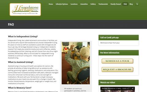 Screenshot of FAQ Page heritagewoodstone.com - FAQ | Assisted Living | Boise | Twin Falls ID - captured Oct. 2, 2014