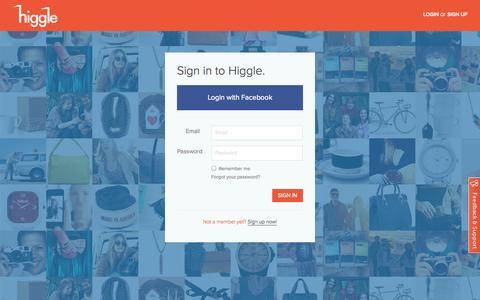 Screenshot of Login Page higgle.com - Higgle - Login - captured Sept. 12, 2014
