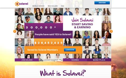 Screenshot of Home Page solavei.com - Solavei | Sign Up, Log In, or Learn More - captured July 11, 2014