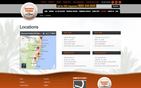 Screenshot of Locations Page guaranteepest.com - Pest Control Locations in Florida | Miami, Broward Co., Palm Beach Co. - captured Oct. 3, 2014
