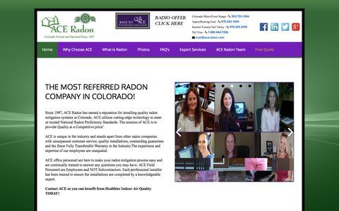 Screenshot of Home Page aceradon.com - Ace Radon, Radon, Radon Mitigation, radon experts, mitigation systems, Front Range, Colorado Radon, Colorado, Radon Gas, colorless gas, radon professional, radon specialist, radon contractors, building, development, pre-construction, radon test, rado - captured Feb. 4, 2016