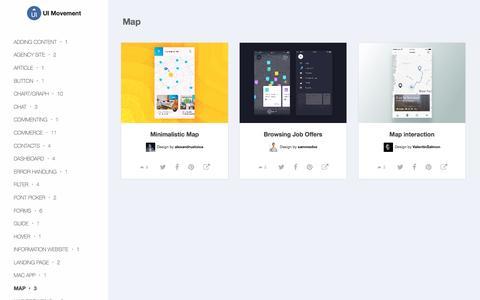 Screenshot of Maps & Directions Page uimovement.com - Map UI designs - UI Movement - captured Sept. 10, 2016