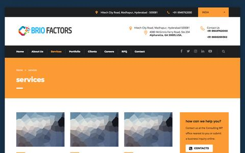 Screenshot of Services Page briofactors.com - services – Brio Factors: Web Designers | Website Developers | Web Hosting | Digital Marketing | SEO | E-Commerce | Digital Strategy | Digital Commerce - captured April 28, 2017