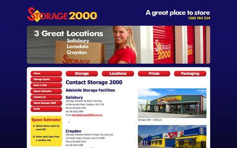 Screenshot of Contact Page storage2000.com.au - Contact Us | Storage 2000 - Storage contact details for Self Storage 2000 in Croydon, Salisbury & Lonsdale. - captured Oct. 7, 2014