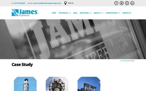 Screenshot of Case Studies Page jamesengineering.co.uk - Case Studies - James Engineering - captured Oct. 13, 2018