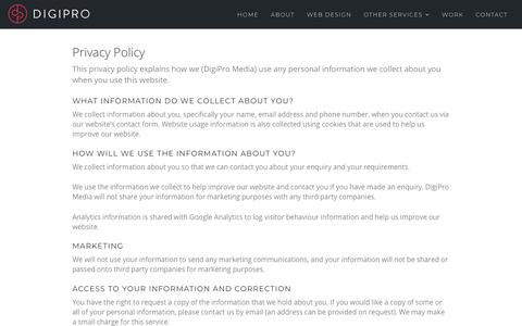 Screenshot of Privacy Page digipromedia.co.uk - Privacy Policy - DigiPro - captured Aug. 7, 2018