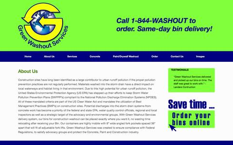 Screenshot of About Page greenwashoutservices.com - About Us | Green Washout Services - captured Sept. 30, 2014