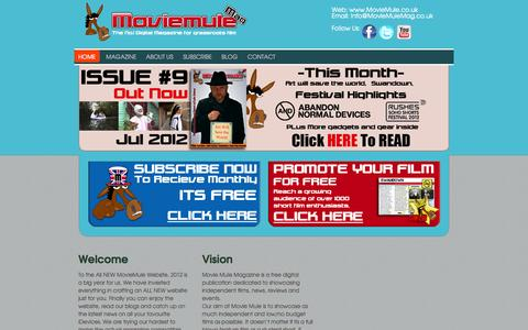 Screenshot of Home Page moviemule.co.uk - MovieMule Magazine - captured Oct. 8, 2014