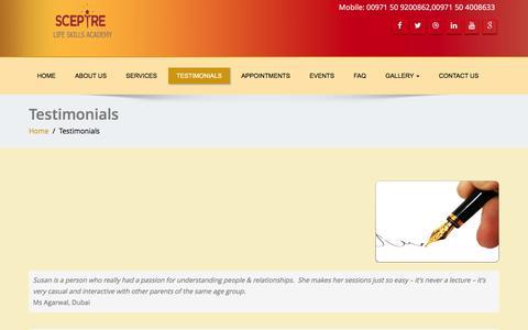 Screenshot of Testimonials Page sceptreglobal.com - Testimonials | Sceptre Global - captured Feb. 4, 2016