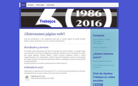 Screenshot of Home Page clubtrebejos.org - Club de Ajedrez Trebejos - captured March 26, 2017