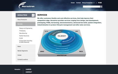 Screenshot of Services Page norautron.com - Services | Norautron - captured Oct. 26, 2014