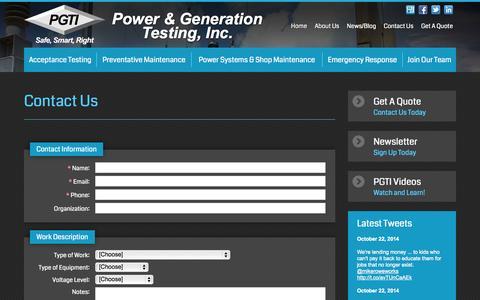 Screenshot of Contact Page pgti.net - Contact Us | Power & Generation Testing Inc - captured Oct. 23, 2014