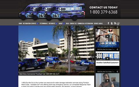 Screenshot of Home Page drymeout.com - Emergency Water Damage Restoration Services Tampa, FL - captured Oct. 4, 2014