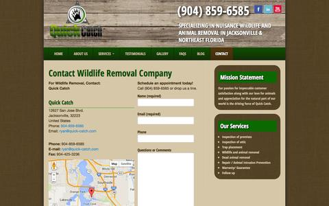 Screenshot of Contact Page quick-catch.com - Contact Wildlife Removal Company in Jacksonville Florida - captured Sept. 30, 2014