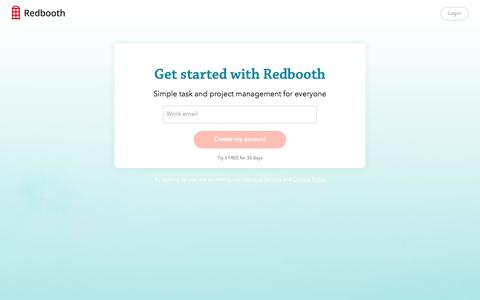 Screenshot of Signup Page redbooth.com - Welcome to Redbooth! | Redbooth - captured Sept. 8, 2016
