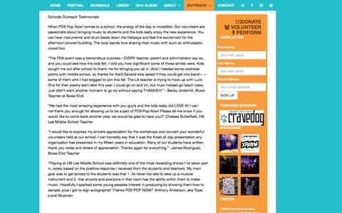 Screenshot of Testimonials Page pdxpopnow.com - TESTIMONIALS | PDX POP NOW! 2015 | JULY 24-26th 2015 - captured Dec. 5, 2015