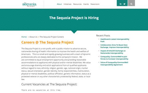 Screenshot of Jobs Page sequoiaproject.org - The Sequoia Project The Sequoia Project Careers - The Sequoia Project - captured Jan. 30, 2017