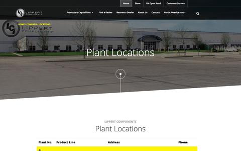 Screenshot of Locations Page lci1.com - Plant Locations - captured Jan. 30, 2016