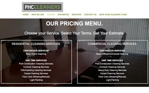 Screenshot of Pricing Page phccleaners.com - PHC Cleaners LLC|Professional Cleaning Company|Massachusetts - captured Jan. 24, 2016