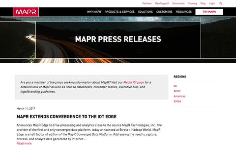 Screenshot of Press Page mapr.com - Press Releases | MapR - captured March 16, 2017