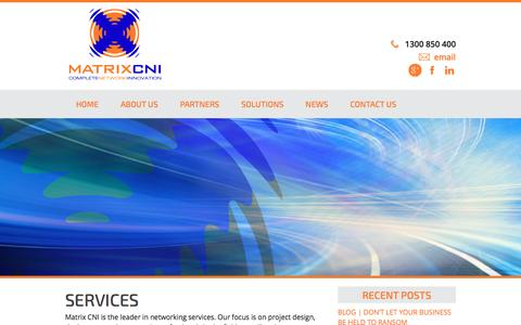 Screenshot of Services Page matrixcni.com.au - Services - Matrix CNI - captured July 20, 2016