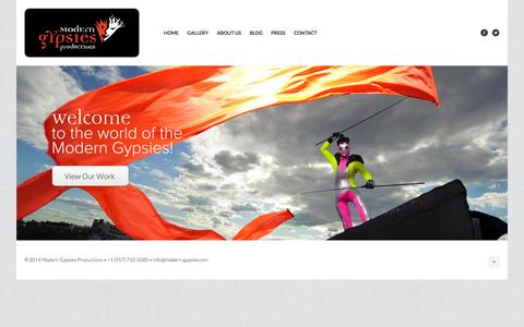 Screenshot of Home Page modern-gypsies.com - Modern Gypsies Productions - captured Sept. 30, 2014