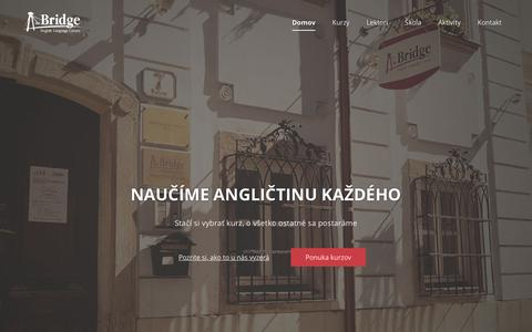 Screenshot of Home Page thebridge.sk - the Bridge   kurzy angličtiny v centre Bratislavy - captured Feb. 23, 2016