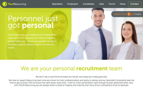 Screenshot of Home Page yourresourcing.com.au - White-Collar Recruitment Agency | Brisbane & Gold Coast - YOUR Resourcing - captured July 26, 2018