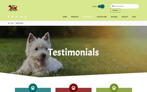 Screenshot of Testimonials Page petbistro.us - Testimonials – Pet Bistro - captured July 17, 2018