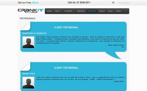 Screenshot of Testimonials Page crankitfitness.com - CrankIt Fitness - Testimonials - captured Sept. 19, 2014