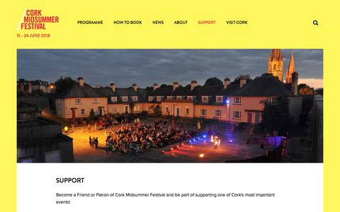 Screenshot of Support Page corkmidsummer.com - Support - Cork Midsummer Festival 2017 - captured Aug. 31, 2017