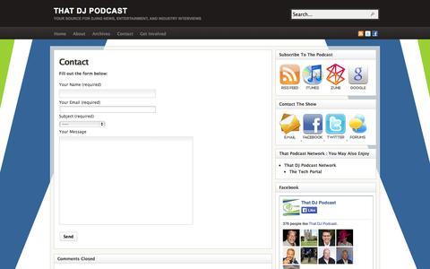 Screenshot of Contact Page thatdjpodcast.com - Contact - captured Oct. 7, 2014